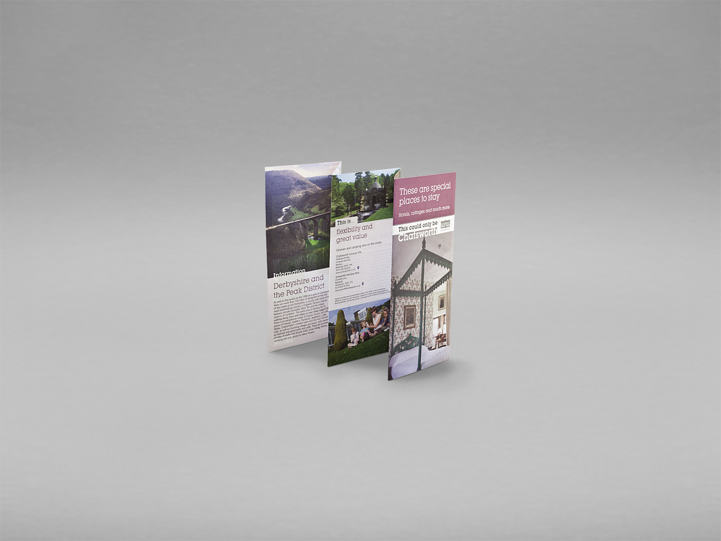 chatsworth house, derbyshire, holiday accomodation leaflet, print design bakewell