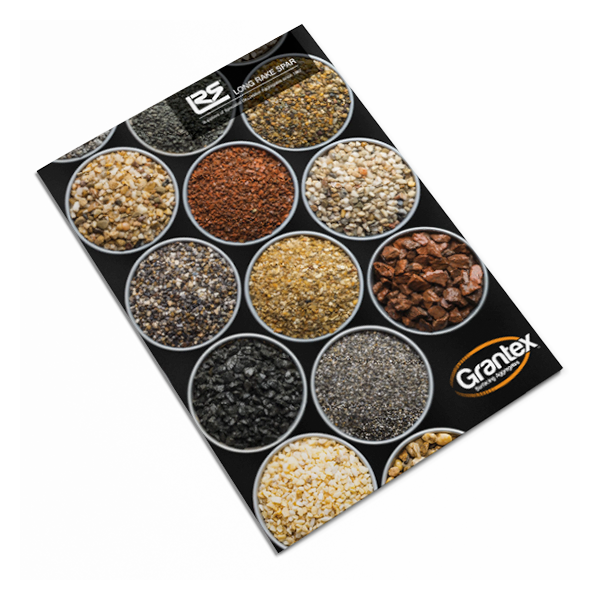Long rake spar, grantex brochure, decorative aggregate, print, design for print, brochure, leaflet, catalog, graphic design