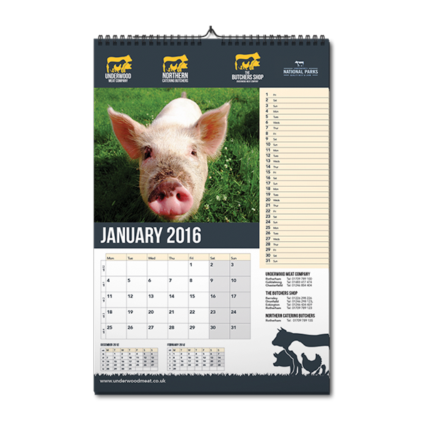 underwood meat company, butchers, calendar, print, design for print, graphic design